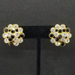 Black & crystal cluster clip-on earrings